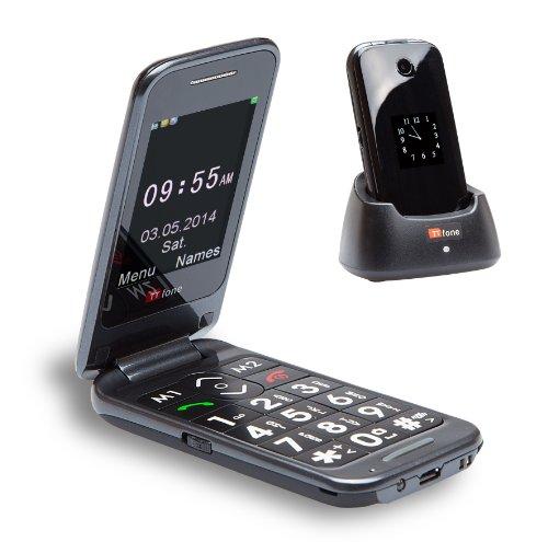 TTfone Venus 2 (TT31) Telefono Cellulare Flip con tasti grandi - doppio schermo, Bluetooth, pieghevole, Fotocamera, sbloccato, Tasto SOS - nero - con caricabatterie dock gratuito.