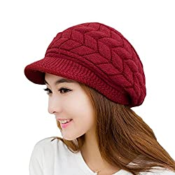 Women's Winter Warm Knit Hat Wool Snow Ski Caps With Visor(Red)
