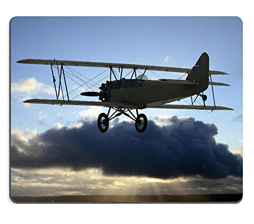 liili-mouse-pad-natural-rubber-mousepad-very-early-vintage-biplane-flying-above-the-clouds-backgroun