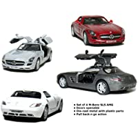 Set Of 4 5 Mercedes Benz Sls Amg 136 Scale Greyredsilverwhite from Kinsmart