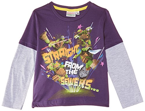 Nickelodeon - Teenage Ninja Mutant Hero Turtles Nh1275, T-shirt da bambini e ragazzi, Violetto (Aubergine), 3 anni