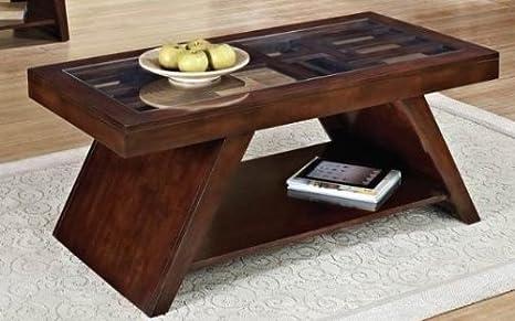 Jelani Dark Brown Cherry Coffee Table With Sleek Glass by Acme Furniture
