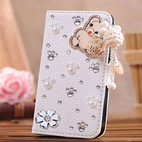 HTC one M9+ [HTC Hima Ultra,HTC Hima Ace Plus,M9pt] case 3D bling leather crystal diamond wallet Credit card stand Case For HTC one M9+ phone(bear and flowers) (Htc Hima Ace Plus Case compare prices)