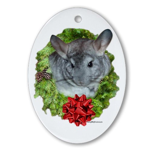 CafePress - Chinchilla Wreath Oval Ornament - Oval Holiday Christmas Ornament