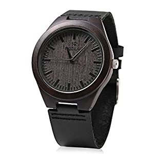REDEAR Mens Quartz Bamboo Watch Wooden Leather Band Waterproof Analog Display Wristwatch (Ebony)