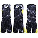 LifeSport2U Camouflage Youth Basketball Uniforms Jerseys School Students Team Sportwear Tracksuits Boys Sport Trainning Suit Sets (XL, Burst Dark Grey Black)