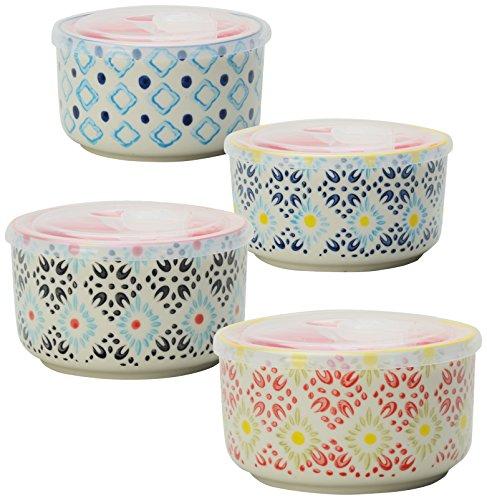 Signature Housewares Print 8 Storage Bowls, 6-Inch, Multicolor, Set of 4 (Ceramic Storage compare prices)