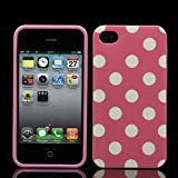Jellybean Pink Polka Dot Gel Case For Apple iPhone 4 mobile 8GB 16GB 32GB 64GB