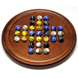 WE Games Golden Oak Stained Solitaire with Assorted Stripe Marbles - 12 in.