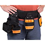 Internet's Best Tool Belt Carpenter Apron   10 Pockets   Quick Release Work Belt with Utility Pouch   Handyman Rig   Removable Bags