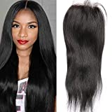 Sunwell 100% Unprocessed Virgin Brazilian Human Hair Lace Top Closure Silky Straight Bleached Knots with Baby Hair Closure 3.5