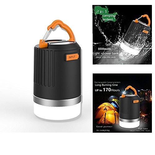 LED Lanterna da campeggio, portatile ultra luminosa Lampada da esterno e 8800mAh Power Bank, IP65, Batteria Impermeabile Multifunzione Ideale Per Esterni escursioni trekking, campeggio, pesca