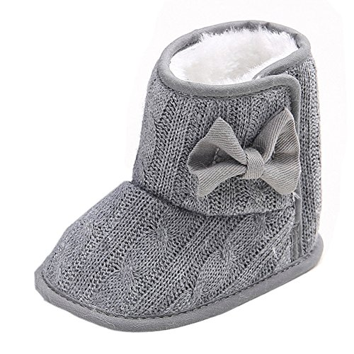 Baby Boys Girls Winter Fleece Mid Calf Snow Boots Crib Shoes Grey 6-12 Months