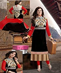 Black Bag Ayesha Semi Stiched Dress Material