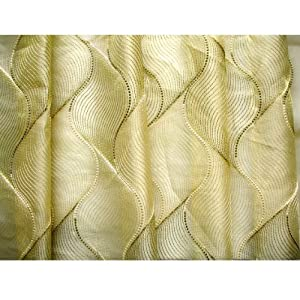 48 Wide Gold Olive Green Chain Stitch Embroidery Sheer Upholstery Curtain Fabric By The Yard