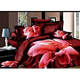 king size home textile 3d bedding sets the hot pink flower 4 pcs bed sets , duvet cover bed sheet pillow case...