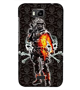 PrintDhaba COMMANDO D-6252 Back Case Cover for HUAWEI HONOR BEE (Multi-Coloured)