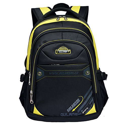 Vere Gloria School Backpack Bags for Teenage Girls Boys, Big Casual Hiking Travel Back Packs for Men Women, 15 Inch Laptop Rucksacks for Primary Middle High School Campus Students (Yellow)