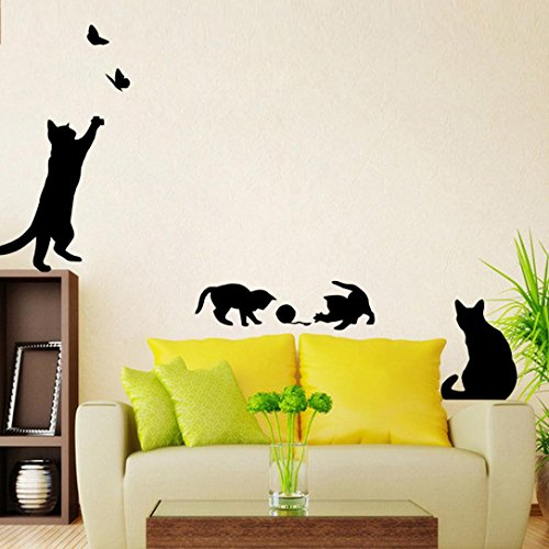 Hatop Cats Butterfly Wall Stickers Art Decals Mural Wallpaper Decor DIY For Home Living Room Bedroom Bathroom Kitchen