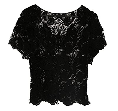 Rokou Women's Elegant Bohemia Short Sleeve Lace Crochet Knit Blouse Tops Shirt