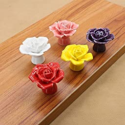 Sytian® 5pcs Multicolor Candy Color Home Decorative High Quality Rose Flower Ceramic Door Cabinet Drawer Knobs Pull Handles Creative Cupboard Handle Pull Knobs with Screw