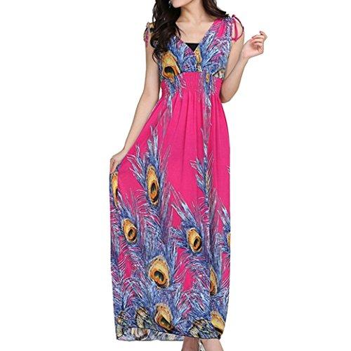 Women Ladies Printed Empire Waist Deep V-Neck Boho Beach Long Maxi Dress - Rose Red