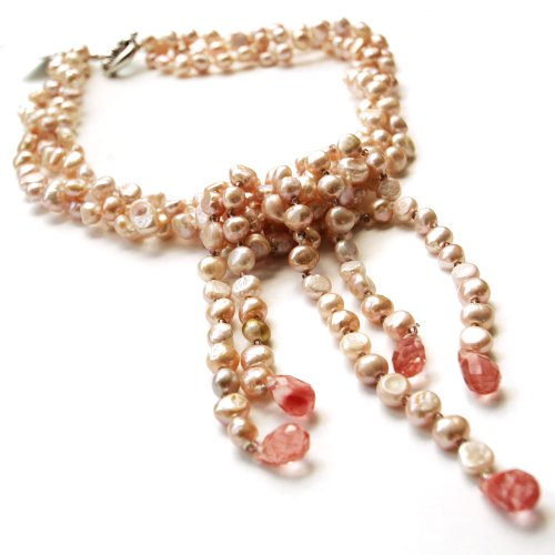 Rose-gold Baroque 17 Inch Three Strand Pearl Necklace; 5.5-6.5 mm Width Uneven Pearls with Pink Gemstones