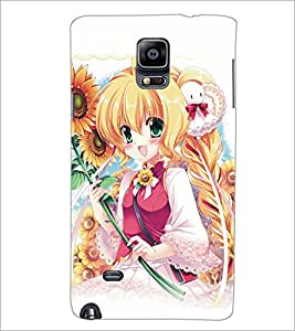 PrintDhaba Cute Girl D-5129 Back Case Cover for SAMSUNG GALAXY NOTE 2 (Multi-Coloured)