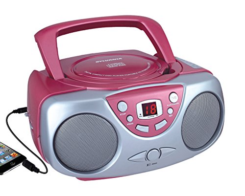 Sylvania Portable CD Boombox with AM/FM Radio, Orange