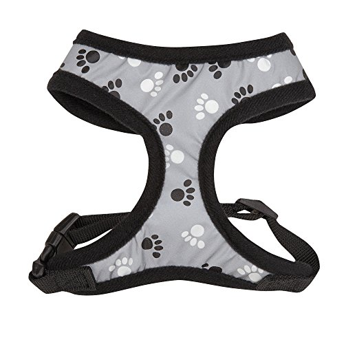 Casual Canine Reflective Pawprint Dog Harness, Medium, Black (Casual Canine Mesh Dog Harness compare prices)