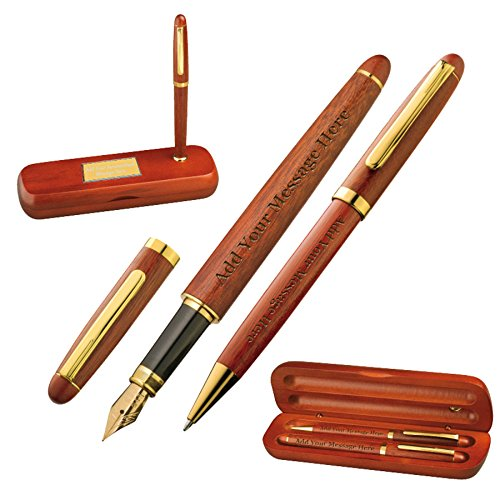 Personalised Wooden Pens Gift Set In Rosewood Box