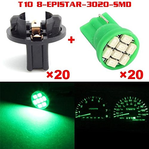 Partsam 20pcs Green T10 194 168 W5W LED Light Bulb 8-Epistar-SMD With Sockets Instrument Panel Speedometer Odometer Temp Gauges Lighting Indicators Lamp (1991 Chevy Silverado Dash compare prices)