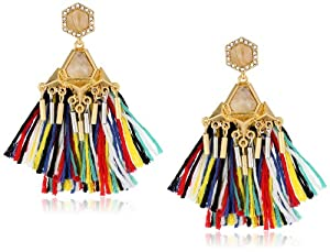 Vince Camuto Two-Tone Silver and Gold-Plated Fabric Tassel Drop Earrings with Crystals