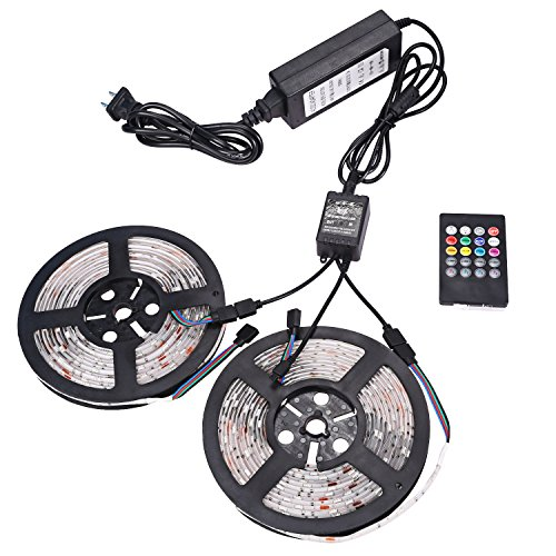 XKTtsueercrr 3528 SMD 300LED Waterproof Flexible RGB Color Changing LED Light Strip, 32.8 FT, (Two Rolls) (Led Light Strips Music compare prices)