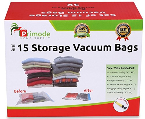 Primode Space Saver Vacuum Storage Bags, 15 Count Value Pack - Saves Space & Protects Clothing Easy-to-Use (Set Of 15) (Clothing Vacuum Bags compare prices)