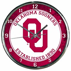 Buy NCAA Oklahoma Sooners Chrome Clock by WinCraft