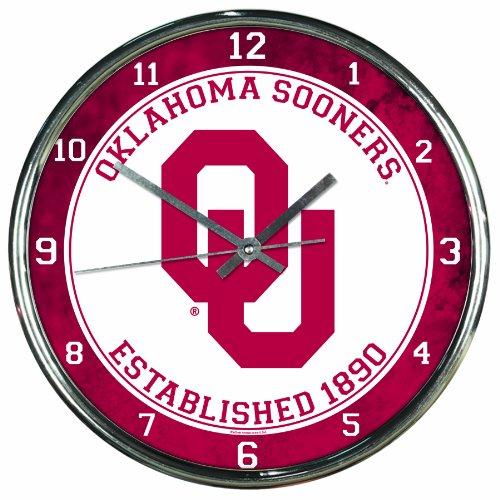 NCAA Oklahoma Sooners Chrome Clock