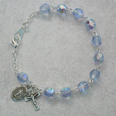 Sterling Silver Youth Girls Rosary Bracelet Zircon December Birthstone.