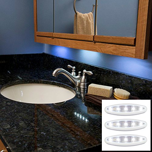 Hampton Direct 3 Pack Of Led Oval White Push Lights Great For Kitchens, Closets