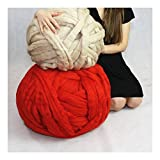 Arm Knitting Yarn Chunky Wool Yarn Bulky Wool Yarn Giant Knit Yarn extreme knitting (0.55lbs/250g, Red)