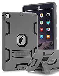 TOPSKY(TM) iPad Air Case,[Kickstand Feature],Shock-Absorption / High Impact Resistant Hybrid Three Layer Armor Defender Protective Case Cover Apple iPad Air (iPad 5) 2013 Model,Grey/Black
