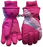 N'ice Caps Girls Thinsulate Waterproof Striped Ski Glove
