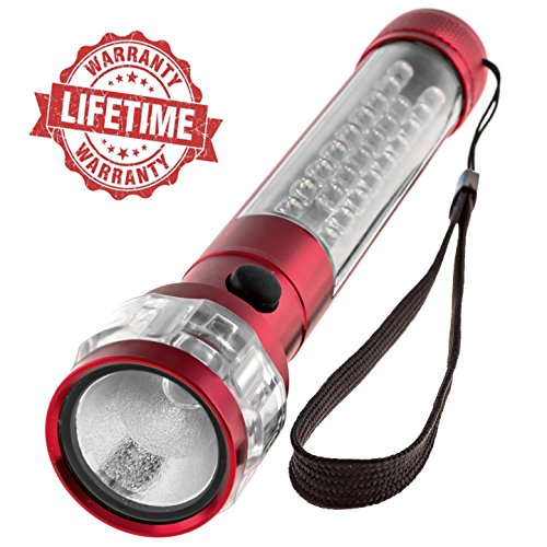 LED Flashlight 3-in1 - Batteries Included, Ultra Bright CREE Car Flashlight with Magnetic Base + Emergency Red Flashing Mode