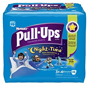Huggies Pull-Ups Night-time Training Pants, Size 3T-4T, Boy, 46 Count (Pack of 2)
