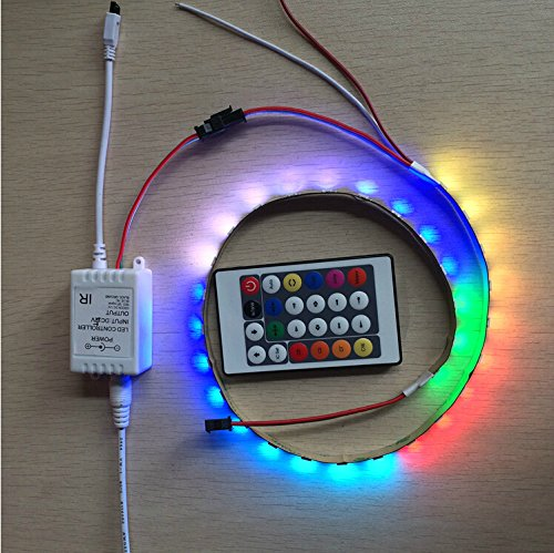 Hkbayi 1M Ws2812B White Pcb Non-Waterproof 60 Leds Pixels Ws2811 Ws2812 5050 Rgb Led Flexible Strip Dc5V Light With Dc 5V 24Key Dream Color Ir Rgb Led Pixel Controller