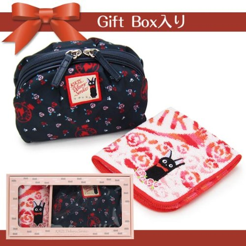 Courier Shell Type Pouch Witch Gift Box (Boxed) Mini Towel Handkerchief Set 'Rose Flower' & Gigi (Cat)