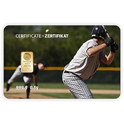 Goldbarren Geschenkkarte 0,5 g 0,5g Gramm Feingold 999.9 Nadir Gold Sport Baseball