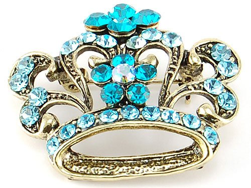 King Queen Sapphire Royal Aqua Blue Crystal Rhinestones Crown Costume Brooch Pin