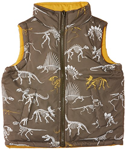 Hatley Little Boys' Little Boys' Reversible Puffer Vest Dino Bones, Yellow, 3 front-733640