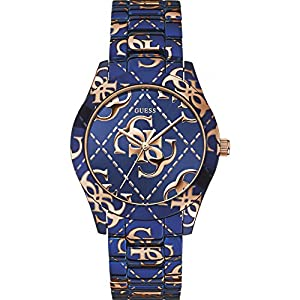 Guess Watches Ladies Logo Crazed Blue Watch With Rose Tone Accents
